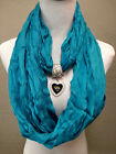 Jacksonville Jaguars Team Color  Infinity Scarf with Heart-Shaped Pendant