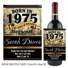 Personalised Born in 1975 Year Happy 43rd Birthday Wine Champagne Bottle Label