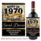 Personalised Born in 1970 Year Happy 48th Birthday Wine Champagne Bottle Label