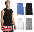 Mens Sleeveless Muscle Tee Cotton Solid Blank Tank T Shirt Summer Gym Top DT6300 image