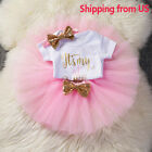 Baby - Baby Girls 1st First Birthday Dress Romper Tutu Skirt Headband Cake Outfits Kids