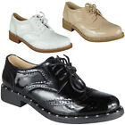 Womens Studded Lace Up Shoes Ladies Low Heel Brogue New Comfy Fashion Flats Size