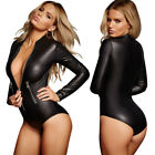 Latex Wetlook Catsuit Zipper Gothic Faux PVC Leather Bodysuit Catwomen Costumes