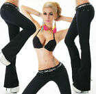 Sexy Women's Bootcut Denim Jeans stretch Pants Black UK 6-14