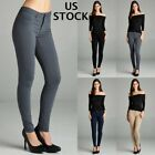 Womens Skinny Pencil Pants Trousers Office Jeggings Ladies Work Formal Spandex