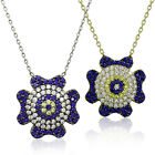 Evil Eye Flower Charm Mati Turkish Nazar Hamsa 925 Sterling Silver Necklace
