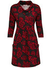 BRAND NEW JOE BROWNS LADIES BLACK KNIT RED ROSE FLORAL TUNIC DRESS SIZES 14-20