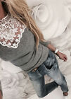 Women Fashion Lace T Shirt Long Sleeve Patchwork Slim Blouse Ladies Casual Tops New without tags