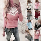 Women Fashion Lace T Shirt Long Sleeve Patchwork Slim Blouse Ladies Casual Tops