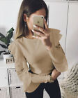 Womens Lace Ruffle Long Sleeve Casual Tee Tops Ladies loose Blouse T-Shirt Top