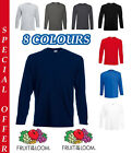 Men's Fruit of the Loom Long Sleeve T Shirt Plain Tee Shirt Value Top Cotton