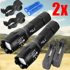 2Sets 15000LM Zoomable LED 18650/AAA Flashlight Focus Torch Lamp Light + Battery