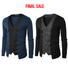 [FINAL SALE]Doublju Mens Stylish Two Tone Slim Cardigan