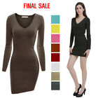 [FINAL SALE]Doublju V-Neck Fitted Long Sleeve Basic Knit Mini Bodycon Dress