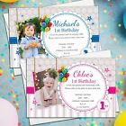 10 Personalised Girls Boys 1st First Birthday Party Invitations Invites N35/36