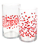 Large Glasses Valentines Drinking Candle Roses Holders Red Vases Hearts Flowers