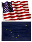 Alaska State and American Flag Combination, Made In USA, All Sizes, You Pick
