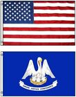 Louisiana State and American Flag Combination, Made In USA, All Sizes, You Pick