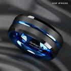 8-6mm Tungsten Men's Ring Thin Blue Line-Inside Black Brushed Band ATOP Jewelry