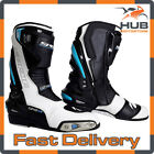 Spada Curve Evo Waterproof Leather Motorcycle Motorbike Boots - White/Blue/Black