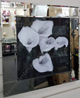 Black & white lily flower pictures with liquid art, crystals & mirror frames