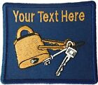 Locksmith Gold Padlock Key Embroidered Add Your Name Iron On Dark Blue Patch Lot