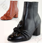 New Ladies Ankle Boots Mid Block Heel Bow Zip Casual Womens Shoes Sizes 3-8