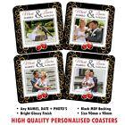 Personalised Photo Coasters ~ Wedding Day Gift Drinks Mat Your Text / Image N8