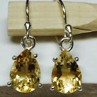 Natural 2.5ct Golden Citrine 925 Solid Sterling Silver Pear Earrings 22mm
