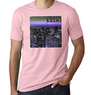 VHS city view retro old school blurred waporvave pink printed cotton men t-shirt