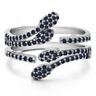 Silver Genuine Sapphire Double Leaf Pave Set Wedding Ring Guard (0.43tw)