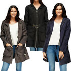 WOMENS LADIES LONG LINE ZIP BELTED HOODED JACKET OUTWEAR COAT TOP UK 12 14 161 8
