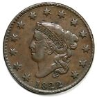 1822 N-4 R-2 Matron or Coronet Head Llarge Cent Coin 1c