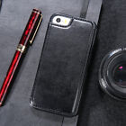 For iPhone 8 7 6s 6 Plus X 5 SE Luxury Leather Slim Hybeid Card Stand Case Cover