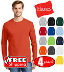 4 PACK Hanes Tagless Cotton Long Sleeve T Shirt Mens Blank Casual Plain Lot 5586 image