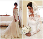 2018 Lace Wedding Dresses Applique A Line Long Sleeves Vintage Bridal Gowns