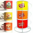 Only Fools and Horses Stacking Coffee Cup / Tea Set  - 3 Cup Set and Holder