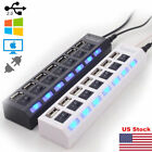 US 7 Port USB 2.0 HUB LED Powered High Speed Splitter Extender Cable Black/White