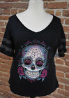 "373B WOMEN PLUS SIZE TORRID TEE SHIRT "" SUGAR SKULL FOOTBALL"" BLACK/GRAY"