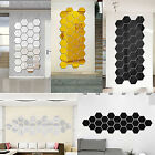 12pcs 3d Diy Mirror Hexagon Vinyl Removable Wall Sticker Decal Home Decor Art Us