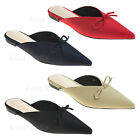 AnnaKastle Womens Pointy Toe Satin Flat Mule Slim Slipper with Bow Dress Shoes