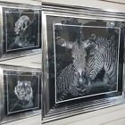 B & W Tiger/Zebra pictures with double mount,liquid art,crystals & silver frames