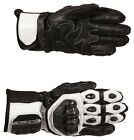 Buffalo Jerez Black White Leather Motorcycle Gloves New