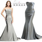 strapless mermaid gown - New Silver Mermaid Strapless Bridesmaid Dress Ball Gown Party Prom Evening Dress