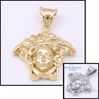 P24 Men Stainless Steel Gold Silver Medusa Medallion Pendant