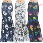 Women's LONG SKIRT SKULL Rose Cross High Waist Maxi S/M/L/XL1XL/2XL/3X