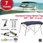BIMINI+TOP+4+Bow+Boat+Cover+Blue+90%22+%2D+96%22+Wide+8ft+Long+With+Rear+Poles