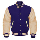 Varsity jacket Letterman Baseball Bomber Navy Wool Cream Genuine Leather Sleeves