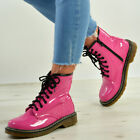 New Womens Ladies Pink Patent Lace Up Ankle Boots Pu Shoes Size Uk 3-8