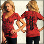 Affliction ROSARY OF LIFE Womens V-Neck Top S M NWT NEW T-Shirt Bamboo Red
